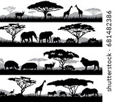 Stock vector wild african life background silhouettes of different animals and trees animal african wild black 681482386