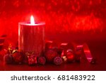 christmas decoration with... | Shutterstock . vector #681483922