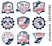 set of nine auto repair logo...   Shutterstock .eps vector #681492082