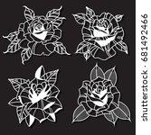 vector rose set. tattoo design... | Shutterstock .eps vector #681492466