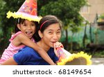 happy kids celebrating christmas outdoor - stock photo
