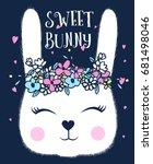 Stock vector sweet bunny illustration vector for girl print design 681498046
