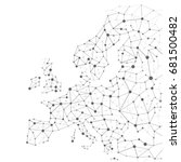 Network Map of Europe. All cities and capitals are joined to a global point network. All the countries of the European Union and also other eastern countries are present. Black and white
