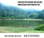 Small photo of Inspirational travel quote lake Look deep into nature and you will understand everything better