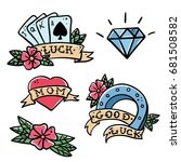 old school tattoo elements set. ... | Shutterstock .eps vector #681508582