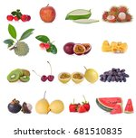 fruits isolated on white... | Shutterstock . vector #681510835