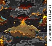 a set of volcanoes of varying... | Shutterstock .eps vector #681512416