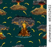 a set of volcanoes of varying... | Shutterstock .eps vector #681512422