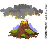 a set of volcanoes of varying... | Shutterstock .eps vector #681512452