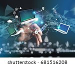 view of a computer and devices... | Shutterstock . vector #681516208
