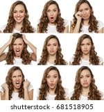 collage with different emotions ... | Shutterstock . vector #681518905
