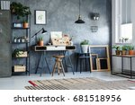 creative workspace with desk in ... | Shutterstock . vector #681518956