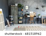 office room of a freelancer... | Shutterstock . vector #681518962