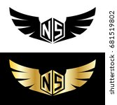 initial letter ns hexagonal... | Shutterstock .eps vector #681519802