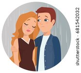 girl crying sad guy comforts... | Shutterstock .eps vector #681542032