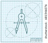 vector blueprint compasses icon ... | Shutterstock .eps vector #681546076