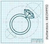 vector blueprint wedding ring... | Shutterstock .eps vector #681549952