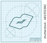 vector blueprint lips kiss icon ... | Shutterstock .eps vector #681552382