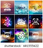 vector set of summer travel and ... | Shutterstock .eps vector #681555622
