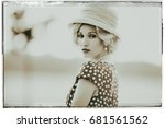 classic black and white photo... | Shutterstock . vector #681561562