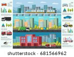 city transport infographic... | Shutterstock .eps vector #681566962