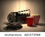 movie industry clapperboard and ... | Shutterstock . vector #681573988