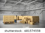 large trucking warehouse with...   Shutterstock . vector #681574558