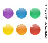 set of six colorful round ... | Shutterstock .eps vector #681576916