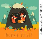 cute village by the mountain... | Shutterstock .eps vector #681580102