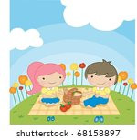 enjoy picnic and happy days... | Shutterstock .eps vector #68158897