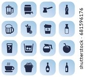 set of 16 beverages icons set...