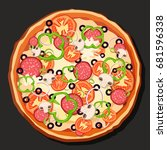 pizza vector. on a gray...   Shutterstock .eps vector #681596338