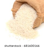 white rice in a sack fall down | Shutterstock . vector #681600166