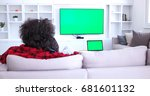 young couple on the sofa... | Shutterstock . vector #681601132