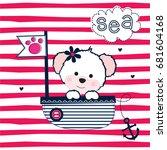 cute teddy bear in a sailboat ... | Shutterstock .eps vector #681604168
