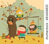 happy kids ride on a swing in... | Shutterstock .eps vector #681606832