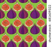 vector seamless pattern with... | Shutterstock .eps vector #681609322