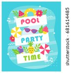 summer pool or beach party... | Shutterstock .eps vector #681614485
