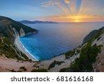 stunning sunset over myrtos... | Shutterstock . vector #681616168