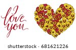 heart of yellow and red pansies ... | Shutterstock .eps vector #681621226