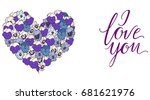 heart of blue and purple... | Shutterstock .eps vector #681621976
