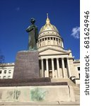 Small photo of Monument of Abraham Lincoln in front of a government building in America