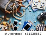striped espadrilles  camera and ...   Shutterstock . vector #681625852