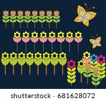 illustration with flowers and... | Shutterstock .eps vector #681628072