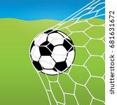 soccer ball flying into the net ... | Shutterstock .eps vector #681631672