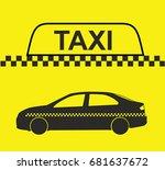 taxi  checkered taxi  car ... | Shutterstock .eps vector #681637672