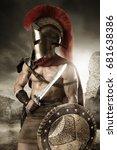 ancient warrior or gladiator... | Shutterstock . vector #681638386