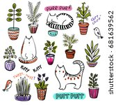 colorful set of pot plants and  ... | Shutterstock .eps vector #681639562