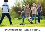cheerful positive  kids playing ... | Shutterstock . vector #681644842