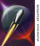 space rocket with thrusters... | Shutterstock . vector #681649048